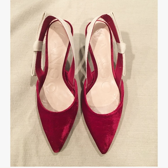 e357fed9c7d MANGO Velvet Slingback heels